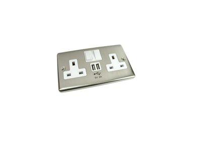 Wall Brushed Chrome USB Socket