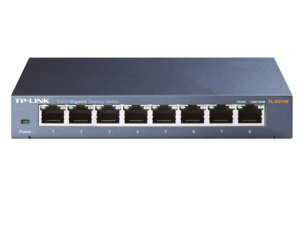 TPLink TLSG108 switch frontangle